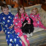 Kids in their new pjs